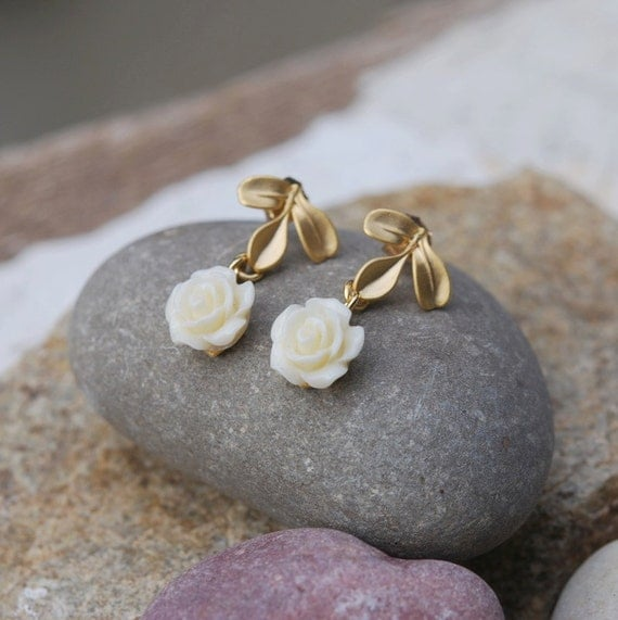 Matte Gold Leaf and Ivory Rose Dangle Post Earrings Jewelry Gift for Her.  Free Shipping.