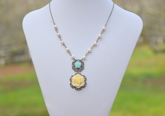 SALE - Unique Vintage Style Necklace with Ivory Rose and Light Blue Roses and Ivory Swarovski Pearls Jewelry Gift for Her.  Free Shipping.