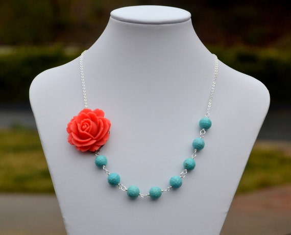 Coral Rose and Turquoise Beaded Chunky Asymmetrical Necklace