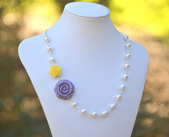 Purple and Yellow Roses and White Swarovski Pearl Asymmetrical Necklace Jewelry Gift for Her.  Free Shipping.