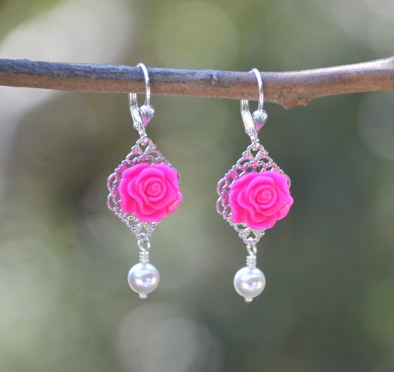 Hot Pink Rose and White Swarovski Pearl Dangle Earrings Jewelry Gift for Her.  Free Shipping.