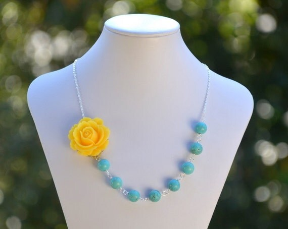 Yellow Rose and Turquoise Chunky Asymmetrical Necklace