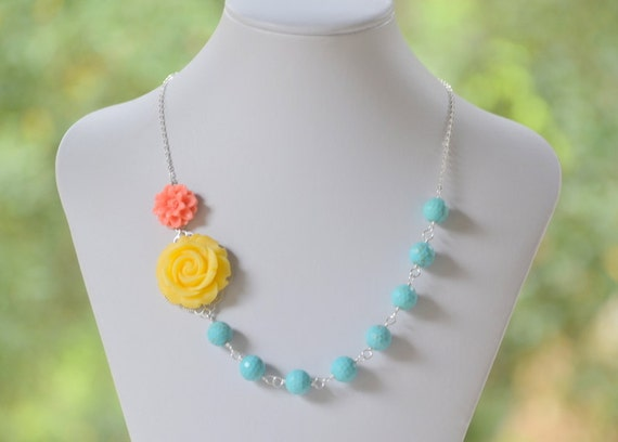 Yellow Rose and Coral Daisy Flower in Turquoise Chunky Asymmetrical Statement Necklace - Bright Statement Necklace