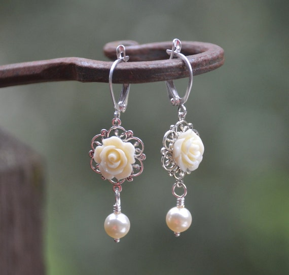 Romantic Ivory Rose and Ivory Swarovski Pearl Earrings Jewelry Gift for Her.  Available in Silver, Gold or Antque Brass. .