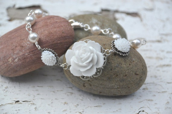 RESERVED for Alyssa - Six White Rose and White Flower Bracelets with White Swarovski Pearls in Gold