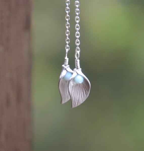 Long Silver Calla Lily Flower Petal and Crystal Chain Dangle Earrings - Chic Long Chain Earrings