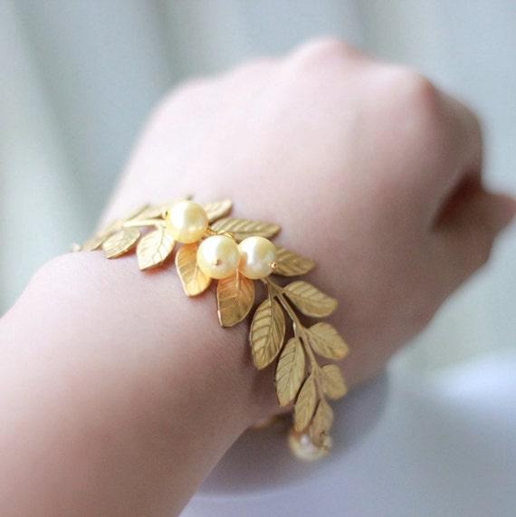 Gold Leaf Jewelry Gold Leaf Bracelet With Gold