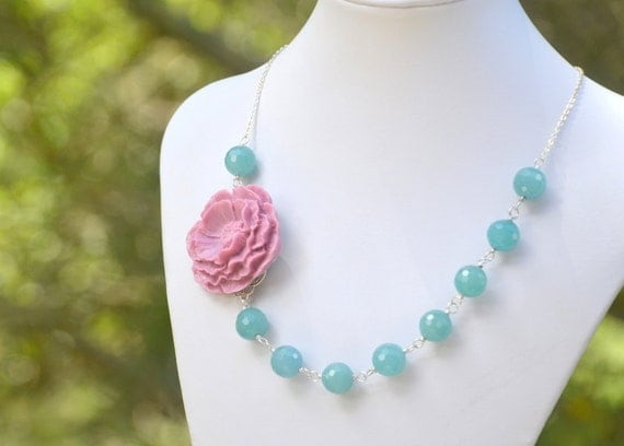 Chunky Purple Flower and Jade Beaded Asymmetrical Statement Necklace