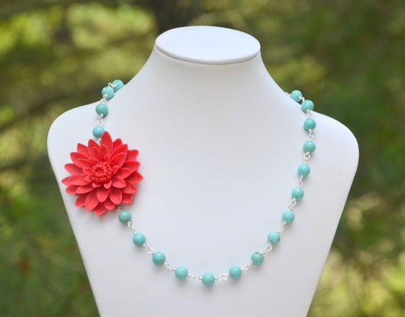 Large Rich Red Flower and Turquoise Beaded Asymmetrical Statement Necklace - Bold Summer Fashion Necklace