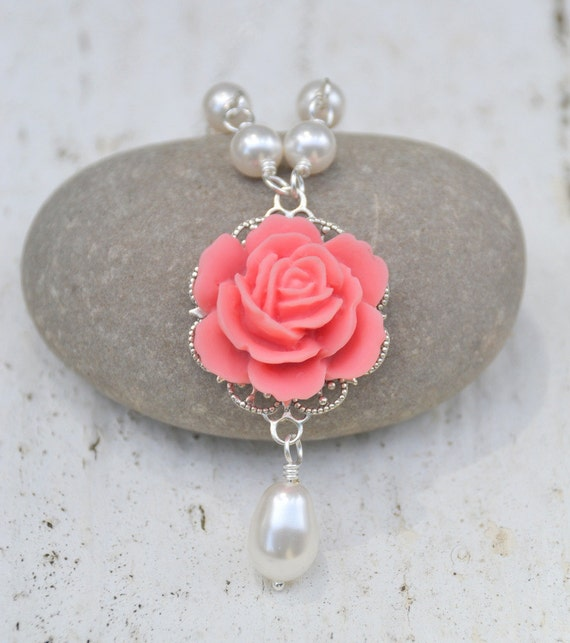 Coral Pink Rose White Pearl Teardrop Necklace.  Bridesmaid Jewelry Set. Bridal Party Jewelry Set. Jewelry Gift for Her.  Free Shipping.