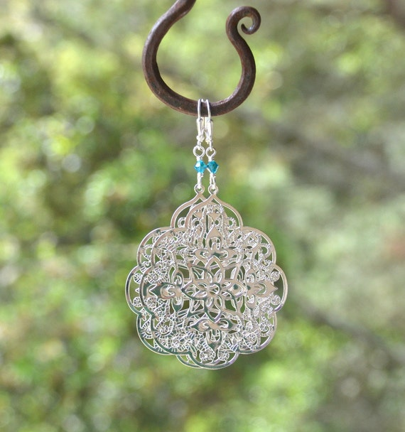Large Silver Filigree Teardrop and Teal Swarovski Crystal Dangle Earrings