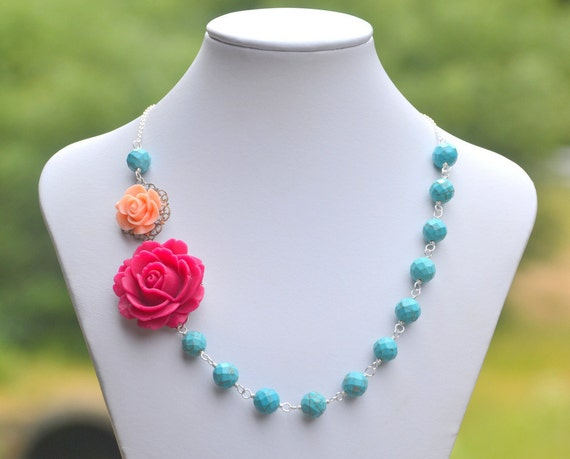 Fuchsia Rose and Peach Rose Chunky Asymmetrical Necklace with Large Turquoise Beads. Chunky Summer Statement Necklace.
