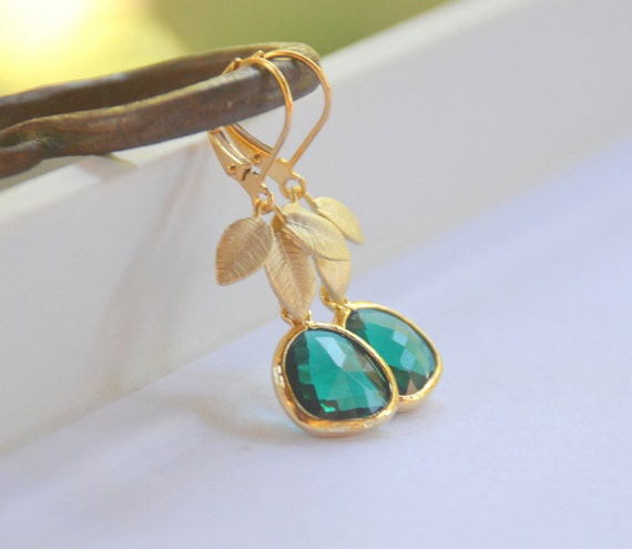 CYBER MONDAY SALE Emerald Green Teardrop and Gold Leaf Dangle Earrings Jewelry Gift for Her.  Free Shipping.