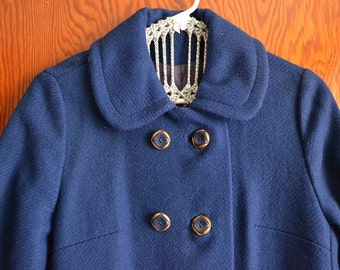 Bright Blue Vintage Coat with Peter Pan Collar
