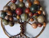 Made to Order Contemporary Tree Of Life Bronze And Jasper Pendant -Free Shipping-