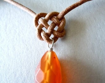 Celtic Carnelian Triple Heart Leather Necklace -Free Shipping-