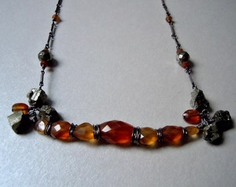 Sculpted Pyrite and Hessonite Gemstones and Oxidized Sterling Silver Necklace -Free Shiping-