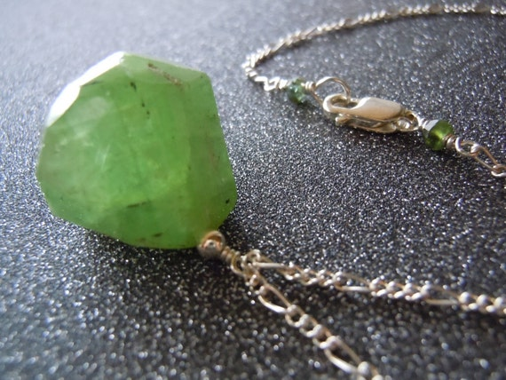 Rare Huge Lime Green Tourmaline Nugget and Sterling Silver Necklace  -Free Shipping-
