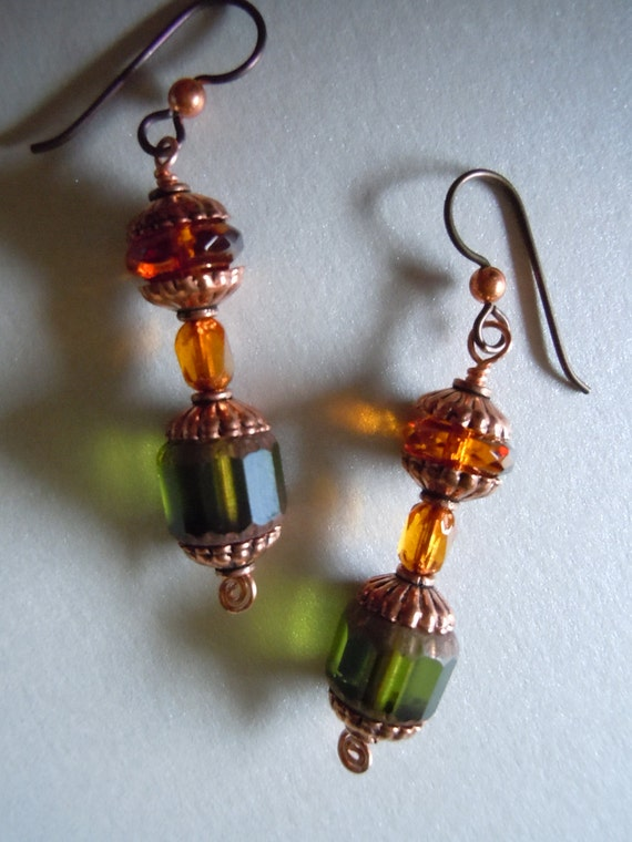 Honey In The Woods Rustic Green and Golden Brown Earrings With Copper and Niobium -Free Shipping-