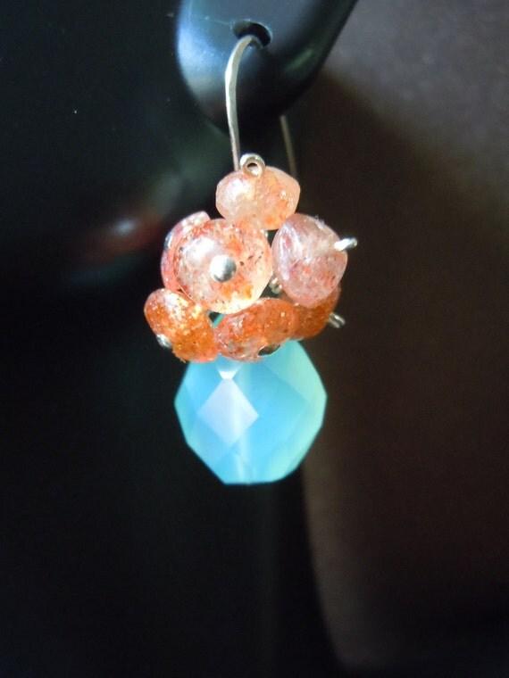 Glowing Stone Beach Inspired Earrings Indian Sunstone Blue Chalcedony Sterling Silver Earwires