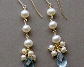 Blue Topazl, Pearls, Gold - Bridal Earrings