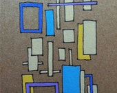 ORIGINAL abstract ACEO, Pen and Gouache on Kraft colored paper, Artist Trading Card, ATC, beige, yellow, purple, blue, turquoise
