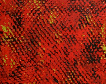 """Inferno Net, 12""""x12"""" original encaustic painting on wooden panel, abstract minimalist modern art red black and green"""