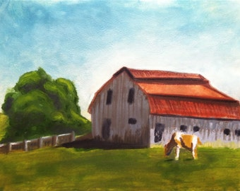 "Barn, Original Encaustic Painting on rice paper, 12"" x 16"", rural landscape barn farm"