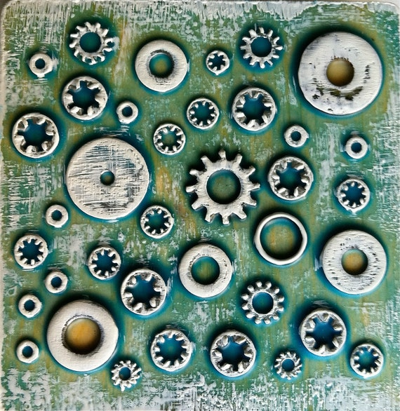 """Washers in Blue with White, ORIGINAL encaustic mixed media, 5""""x5"""""""