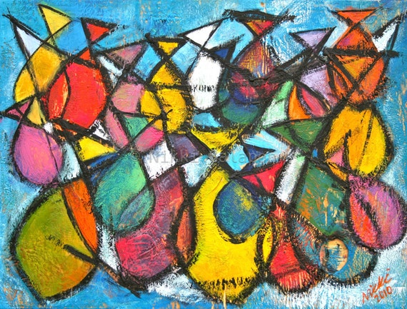Fish, Giclee PRINT of original encaustic painting, abstract modern art