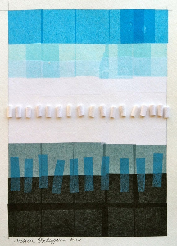 "Shades of Black Blue and White, Original Paper Collage, 9""x12, original three dimensional textured modern art"