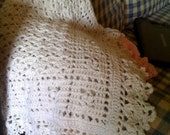 Antique White Crocheted Baby Blanket/Afghan