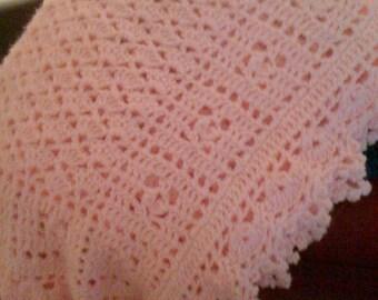 Crocheted Pink Sweet Dreams Baby Blanket/Afghan