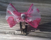 Small Pink and white  bow hair clip with tiny skull one hair clip