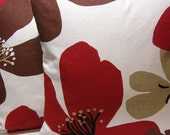 """Red and Brown Flower 16"""" pillow cover pair UK designer fabric"""