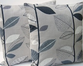 "Gray and Black Leaves Retro 16"" pillow cover pair UK designer fabric"