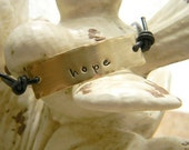 Mixed Metal and Greek Leather Personalized with Hammered Edges Hand Stamped Bracelet