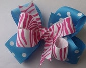 Pink Zebra and Turquoise Polka Dot Hair Bow
