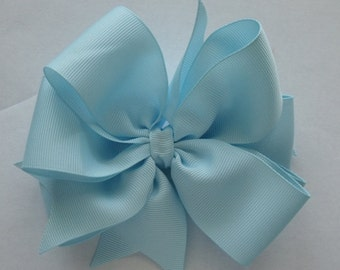 SALE  Hair Bow Blue Beautiful Double Layered