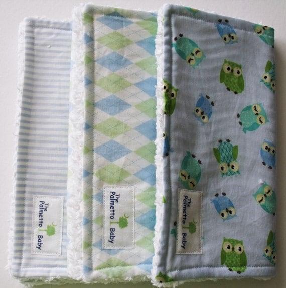 Sweet Little Boy Burp Cloths - set of 3