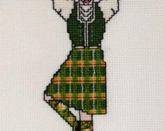 Highland Dancer in Green Tartan Cross Stitch Pattern