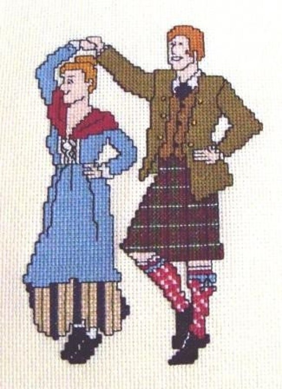 Scottish Dancers at the Ceilidh Cross Stitch Pattern