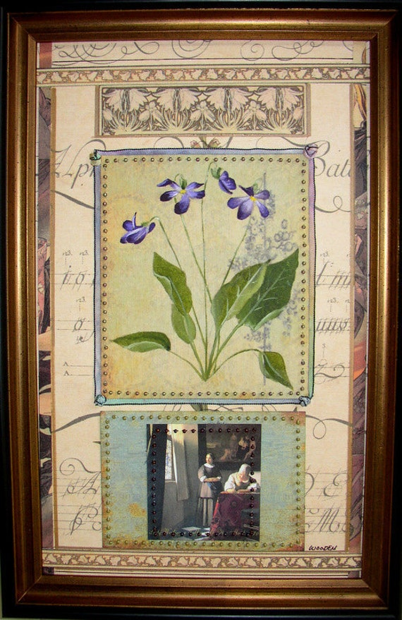 Original Botanical Collage with Violets and Vermeer