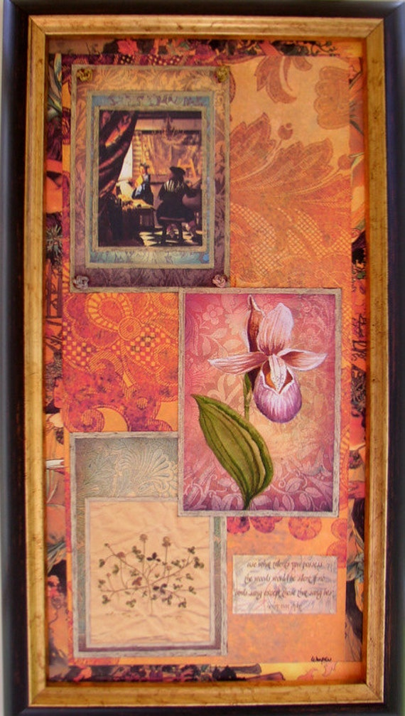 Original Botanical Collage Painting