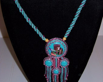 Contemporary Turquoise and Rose Necklace
