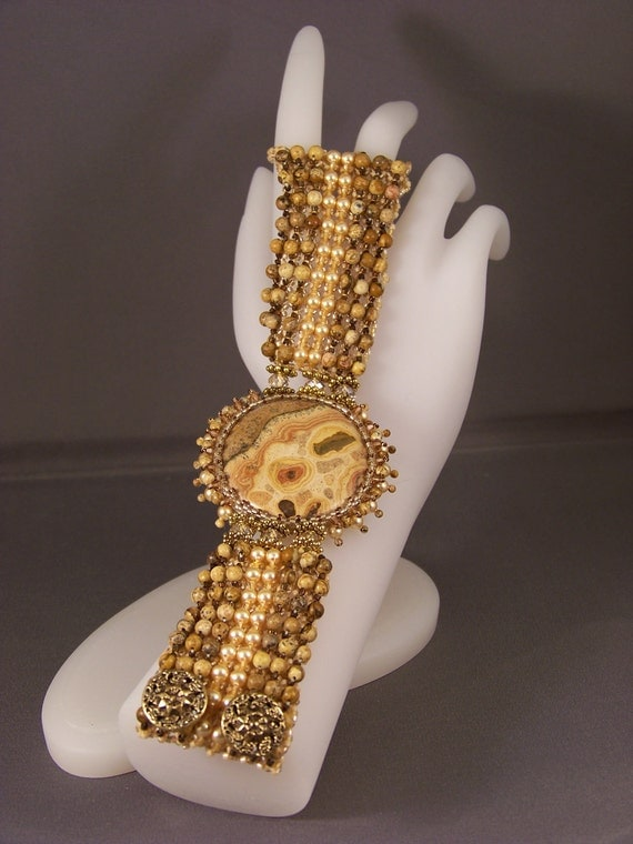 Yellow Leopardskin and Picture Jasper Bracelet