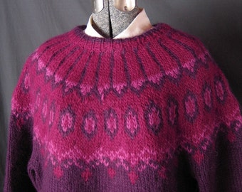 Handknit, Burgundy, Nordic Design Lopi Wool Sweater. Size: Womens Medium
