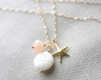 Coin pearl, peach jade stone rondelle and starfish charm necklace in gold