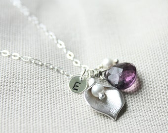 Silver calla lily, gemstone, pearl, initial charm necklace