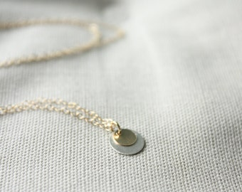 Gold and silver layered disc charms necklaces - sterling silver, gold filled, layering necklace